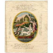 "1819 printed hand-coloured ""Valentine"" wrapper from Banff, Scotland."