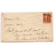 "1860 cover with 1d cancelled by a hand made ""cross"" from Tarbert, Argyllshire."