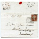 "1846 cover with 1d red-brown from Lerwick manuscript ""Ship Letter""."