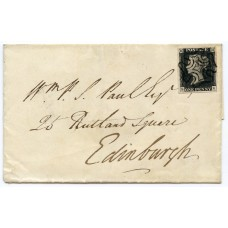 1841 cover with 1d black pl 1b from Huntly, addressed to Edinburgh.