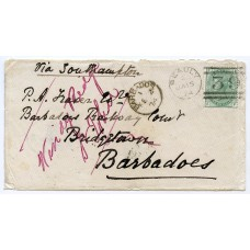 1874 cover with 1/- green pl 8 from Beauly, Scotland, to Barbados.