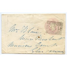 1846 1d pink postal stationery envelope from Lochmaddy, North Uist to Glasgow.