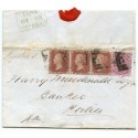 "1855 cover with 1d x 3 +4d ""Registered"" from Lochmaddy, North Uist to Portree, Skye."