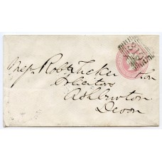 1861 1d pink postal stationery envelope from Stornoway, Isle of Lewis, to Devon.