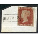 "1841 1d red-brown with ""Rothes"", Morayshire, type VIII Scots Local mark."