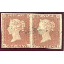 "1841 1d red-brown pair with ""Ollaberry"", Shetland Isles, type 1 Scots Local h/s"