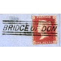 "1857 1d rose-red issue with ""Bridge Of Don"", Aberdeenshire, type V Scots Local mark."