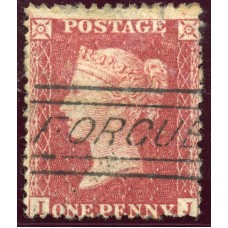 "1857 1d rose-red with ""Forgue"" Aberdeenshire, type V Scots Local handstamp."