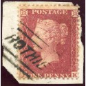 "1857 1d rose-red issue with ""Rothie"" Aberdeenshire, type V Scots Local handstamp."
