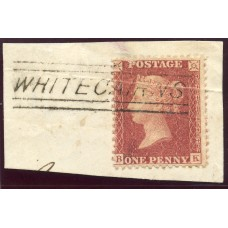 """1857 1d rose-red with """"Whitecairns"""" Aberdeenshire, type V Scots Local mark."""