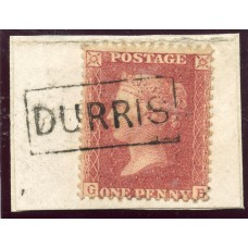 """1857 1d rose-red with """"Durris"""" Kincardineshire type VIII Scots Local mark."""