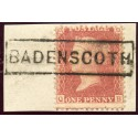 "1857 1d rose-red with ""Badenscoth"" Aberdeenshire, type VIII Scots Local mark."