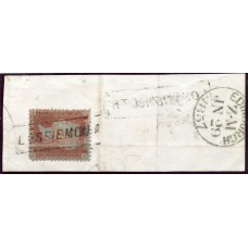 "1856 1d red-brown with ""Lossiemouth"" Morayshire, type IX Scots Local mark."