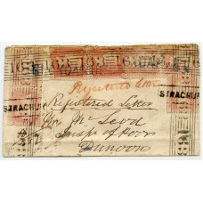 "1857 ""Registered"" cover bearing seven 1d reds from Glendaruel, Argyllshire.to Dunoon."