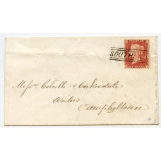 "1857 cover bearing 1d rose-red with ""Southend"" type V Scots Local handstamp."