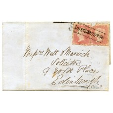 "1857 cover with 2 x 1d  with type IX ""Lossiemouth"" Scots Local handstamp."