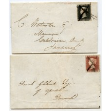 1841 covers bearing 1d black and 1d red from Tonque, with manuscript cancellations.