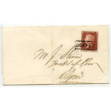 """1857 cover with 1d with type IX """"Duffus"""" Scots Local handstamp."""
