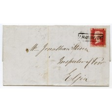 "1858 cover with 1d with type IX ""Lhanbryde"" Scots Local handstamp."