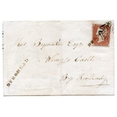 """1844 cover with 1841 1d with type I """"Burghead"""" Scots Local handstamp."""
