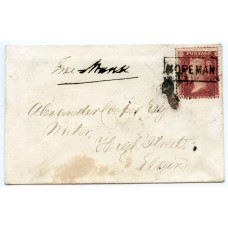 "1858 cover with 1d with type VIII ""Hopeman"" Scots Local handstamp."