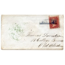 "1858 cover with 1d with RARE  type V ""Aucharnie"" Scots Local handstamp."