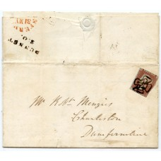 1842 cover -1d red-brown with manuscript Maltese cross of Dunnet, Caithness.
