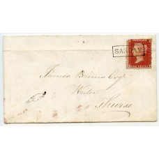 """1858 cover with 1d with type VIII """"Sanday"""" Orkney Islands, Scots Local handstamp."""