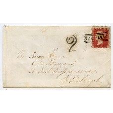 "1860 cover with 1d with type V ""Balfour"" Orkney Islands, Scots Local handstamp."