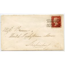 "1859 cover with 1d with type VI ""Harbour Recg Office"" Orkney Islands, Scots Local."