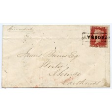 """1860 cover with 1d with type VIII """"Stronsay"""" Orkney Islands, Scots local handstamp."""