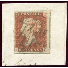 """1841 1d red-brown with manuscript """"Brae office"""" local mark, Shetland Islands."""