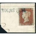 "1841 1d red on piece with ""Ollaberry"" + ""Hillswick"" local Shetland Islands h/s"