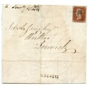 1844 cover with 1d with Sandness handstamp and manuscript mark, Shetland Islands.