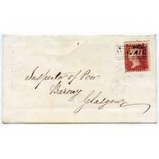 """1860 cover with 1d with type V """"Miavaig"""" Isle of Lewis, Scots Local handstamp."""