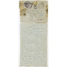 """RARE 1899 cover from St Kilda sent by """"Float Mail"""" and washed up in Norway."""