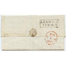 "1829 cover - boxed ""Lerwick 778-E"" mileage mark, Shetland Islands, to Edinburgh."