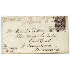 "1857 cover with 6d issue and ""Southend"" Argyllshire, type V Scots Local handstamp."