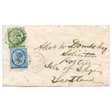 1869 cover from Prince Edward Island addressed to Isle of Skye with 3d and 6d issues.