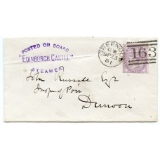 "1881 cover - 1d lilac with ""Posted on Board/Edinburgh Castle/ Steamer"" handstamp."