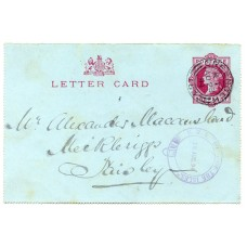 """1894 1d letter card with """"belted"""" """"R.M.S. Lord of the Isles"""" AU 28 94 datestamp."""
