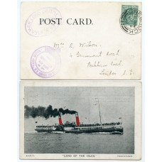 """1903 postcard with EVII ½d with """"Loch Long & Lochgoil Steamboat Co""""  cachets."""