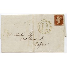 1844 cover with 1841 1d red-brown plate 29 from Tongue, Sutherland, to Golspie.