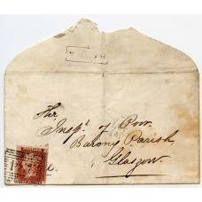 """1858 cover -1d with type VIII """"Barra"""" Island of Barra, Scots Local namestamp."""