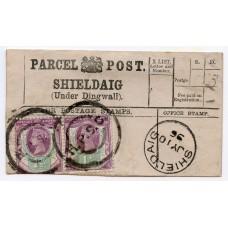 1896 Shieldaig, Parcel Post label, Highland Parcels Sorting Carriage, h/stamp