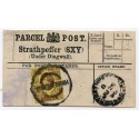 1895 Strathpeffer, Parcel Post Label, Highland Sorting Carriage handstamp.