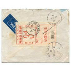 1931 envelope from Arisaig, to Amman, Jordan, with L.N.E.R. Railway letterstamp.