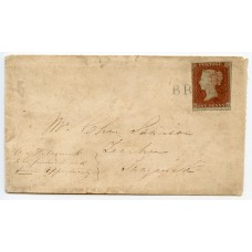 """1843 cover -1d red-brown with """"Brae"""" type 1 Shetland Islands namestamp in blue"""