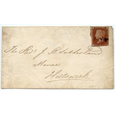 """1843 cover - 1d red-brown with """"Voe"""" type 1 Shetland Islands namestamp in black"""