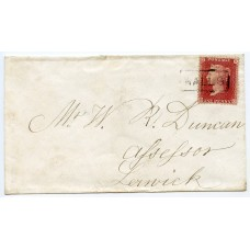 "1858 cover- 1d with type VIII ""Walls"" Shetland Islands Scots Local namestamp"